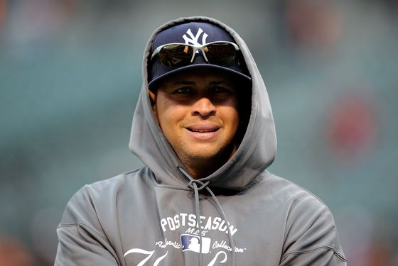 Alex Rodriguez #13 of the New York Yankees looks on during batting practice against the Baltimore Orioles during Game One of the American League Division Series at Oriole Park at Camden Yards on October 7, 2012 in Baltimore, Maryland.