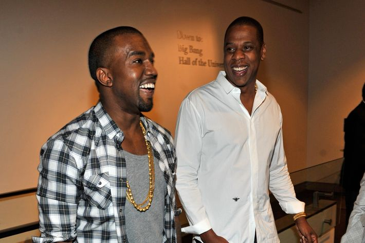 """NEW YORK, NY - AUGUST 01:  (EXCLUSIVE COVERAGE)  Kayne West and Jay-Z attend the exclusive listening event for the highly-anticipated release by Jay-Z and Kanye West,""""Watch The Throne"""" (Available August 8th) at the Hayden Planetarium at the American Museum of Natural History on August 1, 2011 in New York City.  (Photo by Kevin Mazur/WireImage)"""