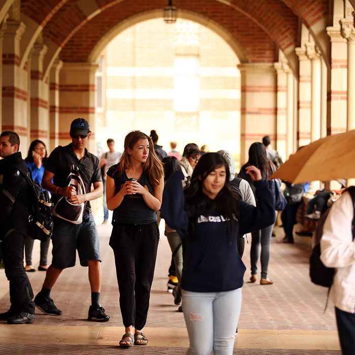 Students at Royce Hall on the UCLA campus