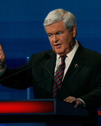MYRTLE BEACH, SC - JANUARY 16: Republican presidential candidate, former U.S. House Speaker Newt Gingrich (R-GA), speaks during a Fox News, Wall Street Journal sponsored debate at the Myrtle Beach Convention Center, on January 16, 2012 in Myrtle Beach, South Carolina. Voters in South Carolina will head to the polls on January 21st. to vote in the Republican primary election to pick their choice for U.S. presidential candidate. (Photo by Joe Raedle/Getty Images)