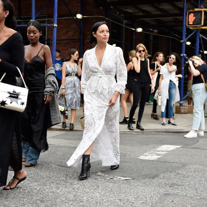 Rachael Wang at New York Fashion Week, September 2015.