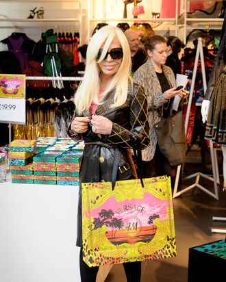 Donatella Versace at the London launch. Obviously she did not have to wait in line.
