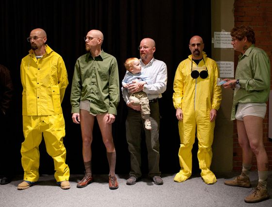 Walter White lookalike contest and taping of The After After Party with Steven Michael Quezada, Aaron Paul and Bryan Cranston at the YDI Albuquerque Wool Warehouse.