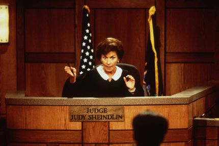 "372961 01: Judge Judy Sheindlin Handles The Case Between Drummer Robert Williams And John Lydon (A.K.A. Johnny Rotten Of The Sex Pistols) In The Reality Television Courtroom Series ""Judge Judy"", 11/24/97 Los Angeles, Ca. (Photo By Getty Images)"