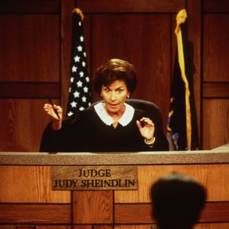 372961 01: Judge Judy Sheindlin Handles The Case Between Drummer Robert Williams And John Lydon (A.K.A. Johnny Rotten Of The Sex Pistols) In The Reality Television Courtroom Series