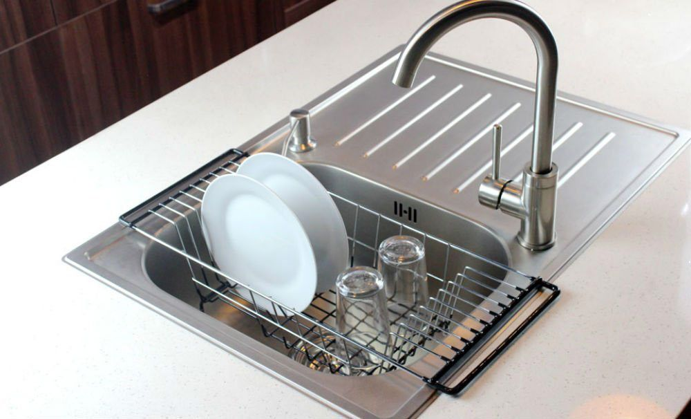 Over The Sink Kitchen Dish Drainer Rack, Durable Chrome Plated Steel (