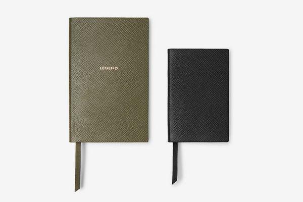 Smythson Panama Cross-Grain Leather Notebook Set