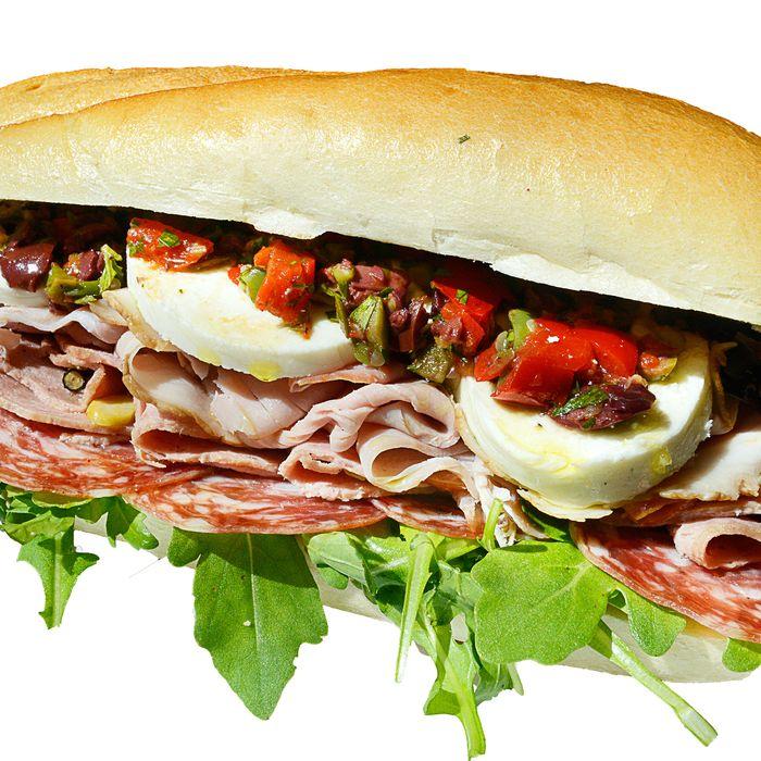 The Triple C: housemade ham, housemade mortadella, Smoking Goose soppressata, Narragansett Creamery mozzarella, and giardiniera on a Hot Bread Kitchen roll.