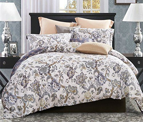 Word Of Dream 250tc 100 Percent Cotton Fl Print Duvet Cover Set