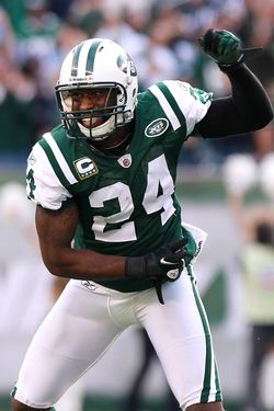 EAST RUTHERFORD, NJ - OCTOBER 23:  Darrelle Revis #24 of the New York Jets celebrates a fourth quarter interception against the San Diego Chargers at MetLife Stadium on October 23, 2011 in East Rutherford, New Jersey.  (Photo by Nick Laham/Getty Images)