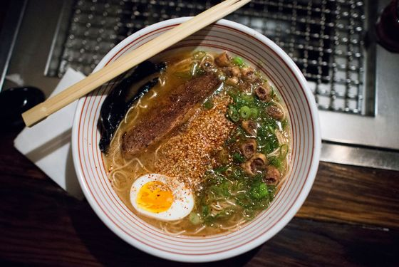 Takashi's just-launched beef-broth ramen with beef belly and crispy beef intestine.