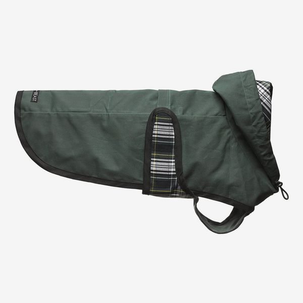 Love Thy Beast Hunter-Green Waxed-Cotton Jacket With Plaid Lining