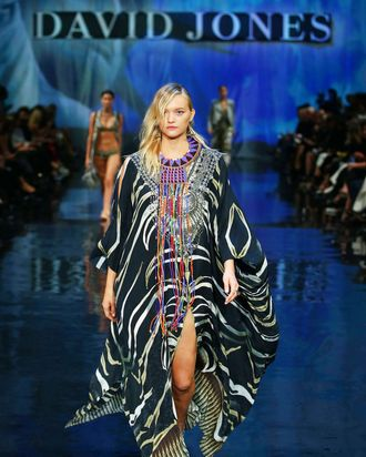 Gemma Ward walks in the David Jones fashion show.