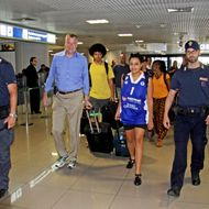 epa04323797 New York mayor Bill de Blasio (2-L), accompagnied by his wife Chirlane (3-R) and his children Dante (3-L) and Chiara (C), arrive at Rome's Fiumicino Airport, Italy, 20 July 2014. Blasio and his family are on a 9-day trip to Italy. The mayor and his family are scheduled to visit Grassano, the town where  Blasio's maternal grandmother, Anna Briganti, lived before she immigrated to the US in the early 1900s, as well as Sant'Agata dei Goti, where the mayor's grandfather, Giovanni de Blasio, was born.  EPA/TELENEWS