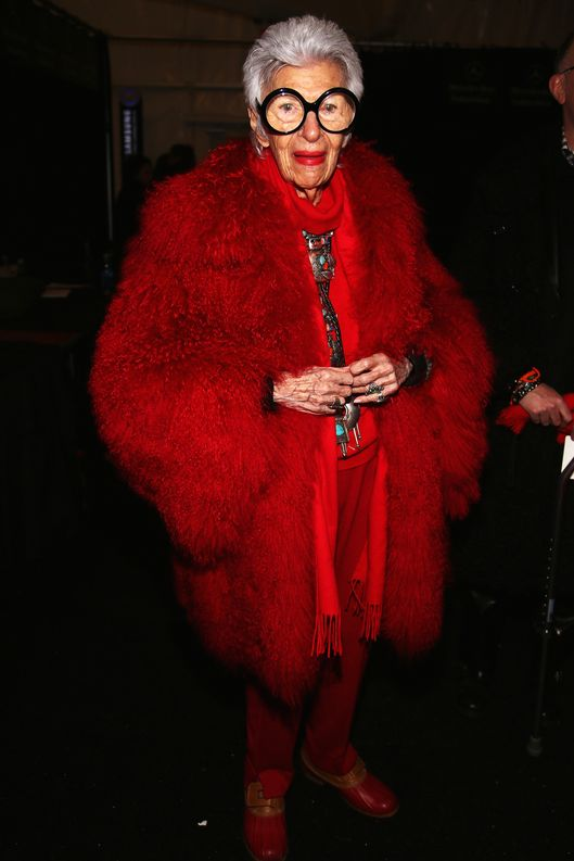 Iris Apfel attends the Ralph Rucci Fall 2013 fashion show during Mercedes-Benz Fashion Week at The Theatre at Lincoln Center on February 10, 2013 in New York City.