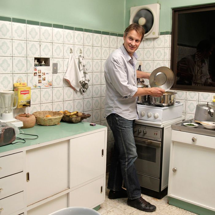 Meyer, just cooking some falso conejo in Bolivia, in 2011, where he now owns a restaurant called Gustu.