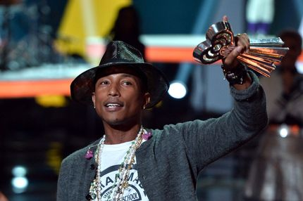 Musician Pharrell Williams accepts the iHeartRadio Innovator Award onstage during the 2014 iHeartRadio Music Awards held at The Shrine Auditorium on May 1, 2014 in Los Angeles, California.