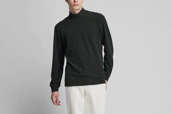 Uniqlo Heattech Stretch Fleece Mock Neck Long-sleeve T-shirt