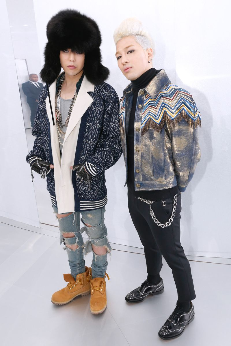 Taeyang and G-Dragon at Chanel Couture Spring 2014 in ...  Taeyang and G-D...
