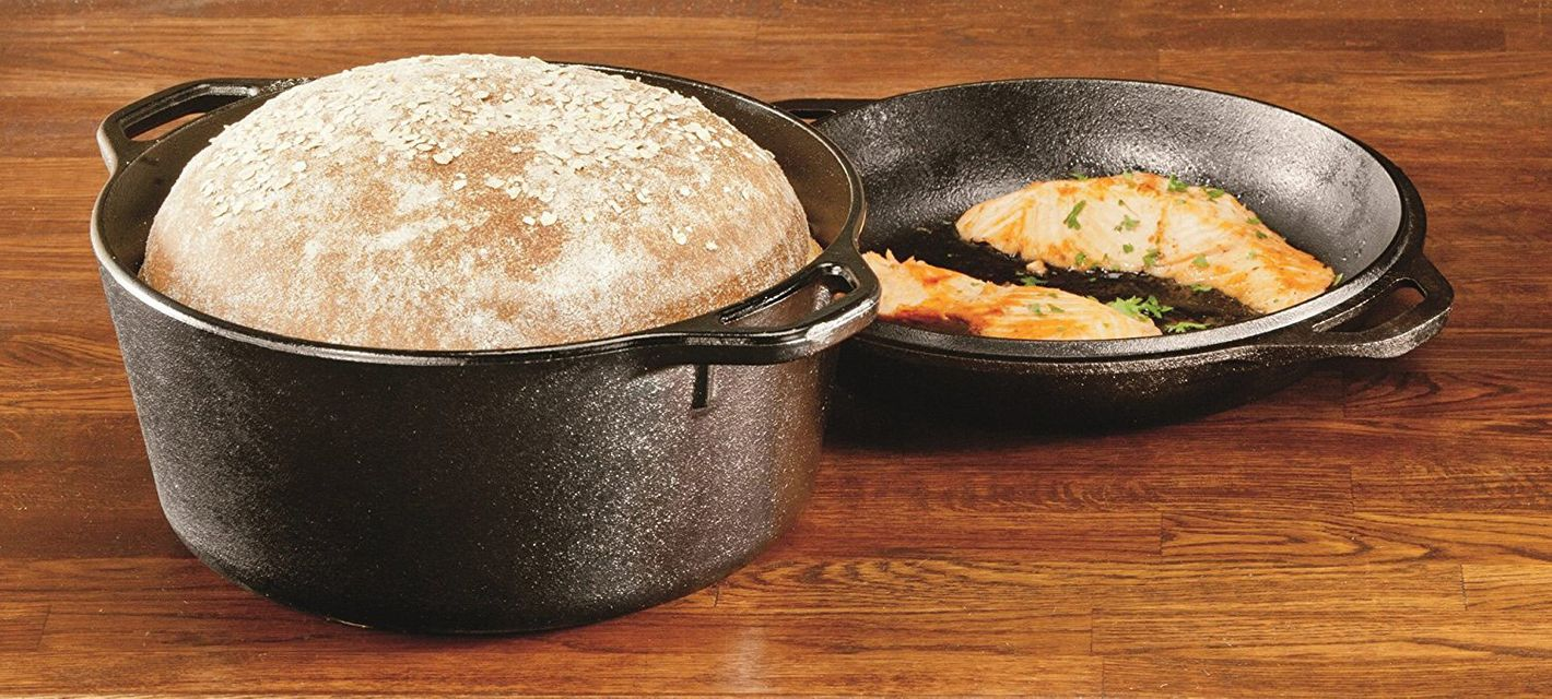 Lodge L8DD3 Cast Iron Double Dutch Oven, 5-Quart