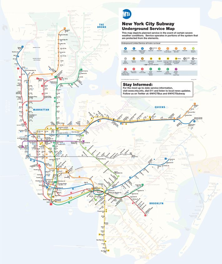 Ny 2017 Subway Map.Mta Will Shut Down Above Ground Subway Service Tuesday