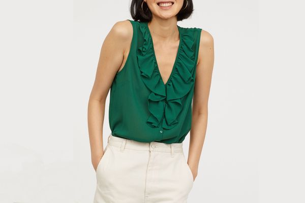 V-Neck Blouse with Flounce