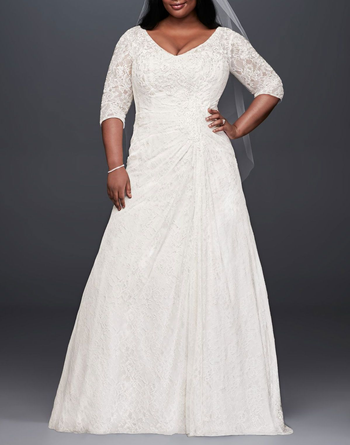 David's Bridal Collection Draped Lace A-Line Plus Size Wedding Dress