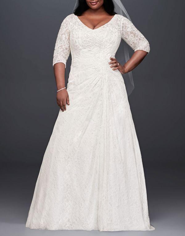 David's Bridal Collection Draped Lace A-Line Plus Size Wedding Dress