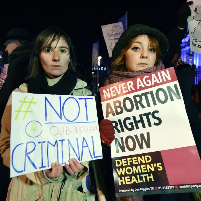 A January pro-choice rally in Belfast for the 21-year-old woman. Photo by Charles McQuillan/Getty Images