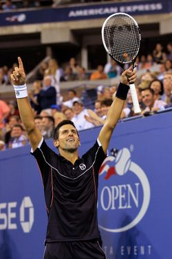 NEW YORK, NY - SEPTEMBER 01:  Novak Djokovic of Serbia reacts after defeating Carlos Berlocq of Argentina during Day Four of the 2011 US Open at the USTA Billie Jean King National Tennis Center on September 1, 2011 in the Flushing neighborhood of the Queens borough of New York City.  (Photo by Chris Trotman/Getty Images)