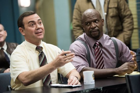 "BROOKLYN NINE-NINE: Det. Boyle (Joe Lo Truglio, L) and Sgt. Jeffords (Terry Crews, R) listen in for their next assignment in the ""The Wednesday Incident"" episode of BROOKLYN NINE-NINE airing Sunday, Feb. 15 (8:30-9:00 PM ET/PT) on FOX. ?2015 Fox Broadcasting Co. CR: Eddy Chen/FOX"
