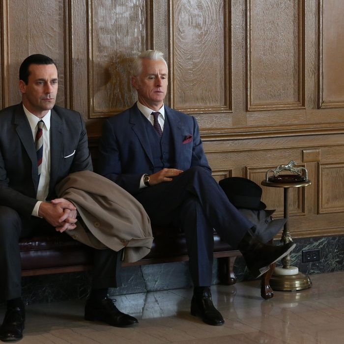 Don Draper (Jon Hamm) and Roger Sterling (John Slattery) - Mad Men - Season 6, Episode 6 - Photo Credit: Michael Yarish/AMC