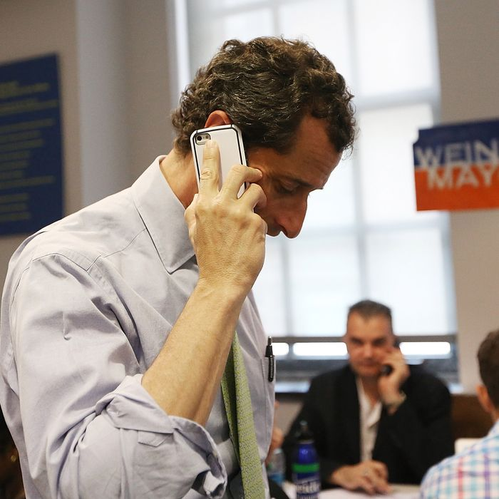Anthony Weiner Visits His Campaign Headquarters