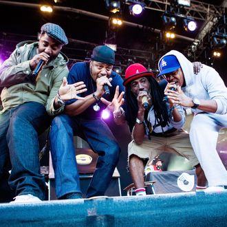The American hip hop group Jurassic 5 performs a live concert at Northside Festival 2014