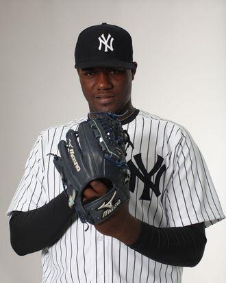 Michael Pineda #35 of the New York Yankees poses for a portrait during the New York Yankees Photo Day