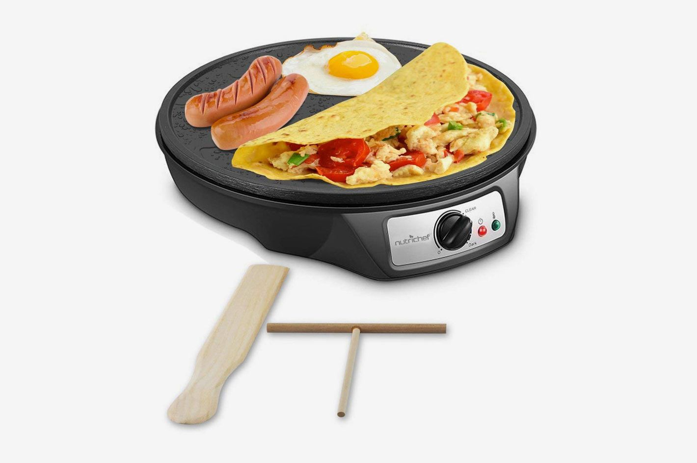 NutriChef Electric Griddle Crepe Maker Cooktop — Nonstick 12 Inch Aluminum Hot Plate