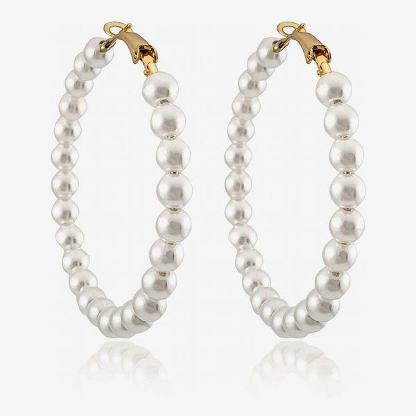 RONLLNA Pearl Hoop Earrings