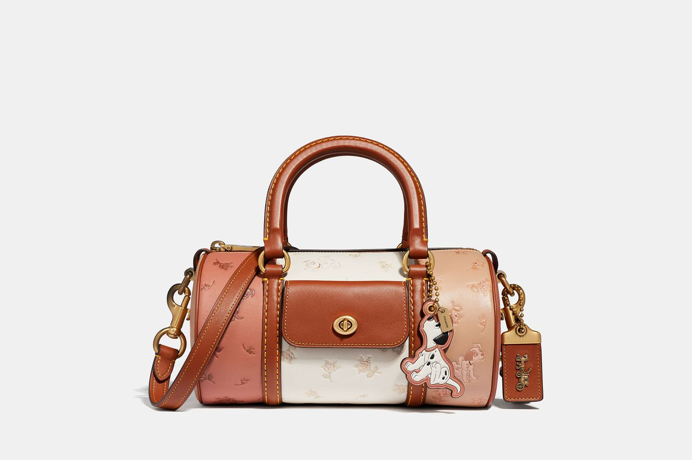 Disney X Coach Barrel Bag With Dalmatian Prairie Floral Print