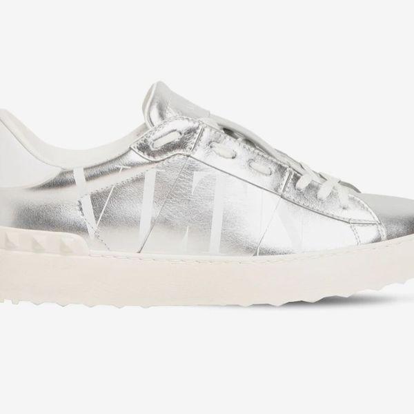 Valentino Garavani 20mm Open VLTN Metallic Leather Sneakers