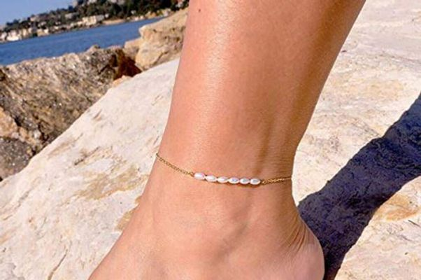 Mevecco Freshwater Pearl 18k Gold Plated Anklet