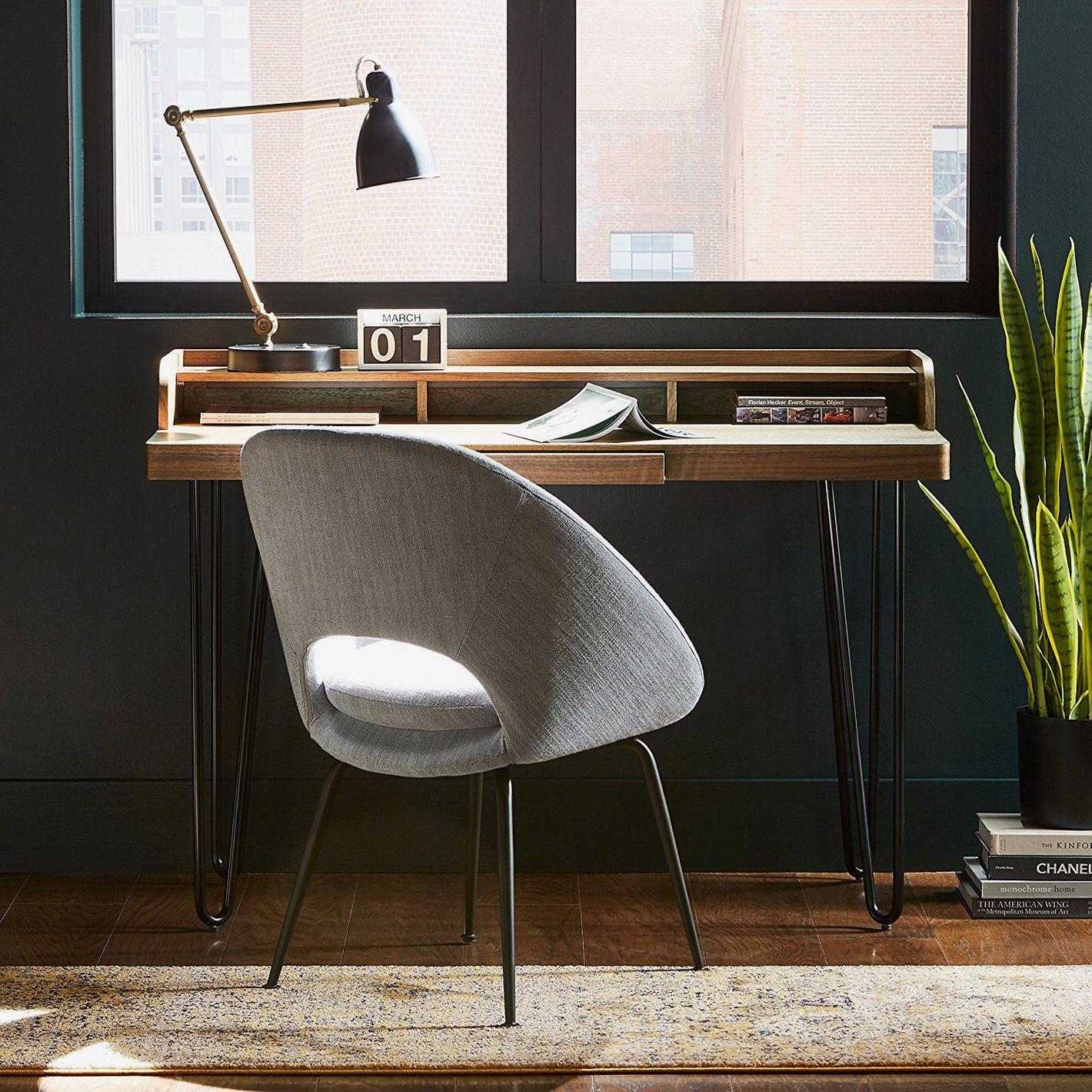 Rivet Modern Wood and Metal Hairpin Desk