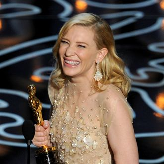 HOLLYWOOD, CA - MARCH 02: Actress Cate Blanchett accepts the Best Performance by an Actress in a Leading Role award for 'Blue Jasmine' onstage during the Oscars at the Dolby Theatre on March 2, 2014 in Hollywood, California. (Photo by Kevin Winter/Getty Images)
