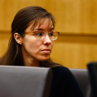 Defendant Jodi Arias looks to her family during closing arguments during her trial at Maricopa County Superior Court in Phoenix, Arizona, May 3, 2013. Defense counsel for Jodi Arias denied in closing arguments on Friday in her high-profile murder trial that she went on a meticulously planned covert mission to Arizona expressly to kill her ex-boyfriend and then hide her tracks.