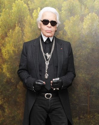 Karl Lagerfeld, ready to rumble in Japan today.