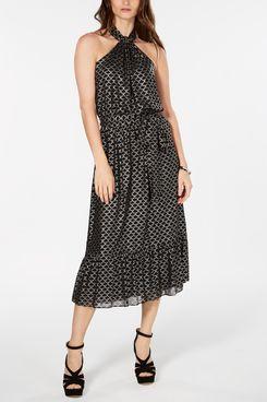 MICHAEL Michael Kors Metallic-Print Belted Dress