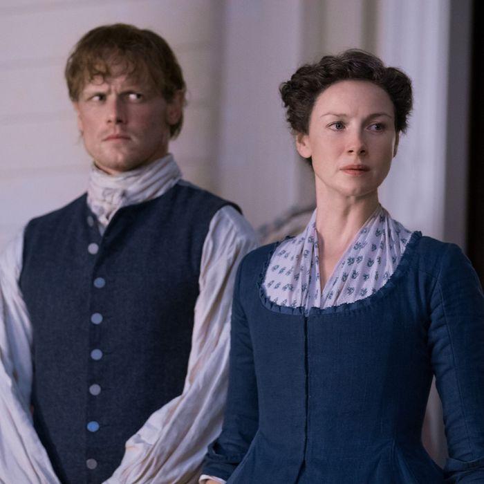 Sam Heughan and Caitriona Balfe in Outlander.