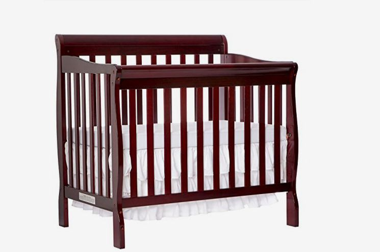 Dream On Me 4-in-1 Aden Convertible Mini Crib, Cherry