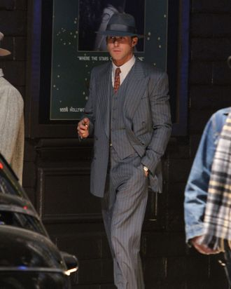 Ryan Gosling filming 'Gangster Squad' in Hollywood.