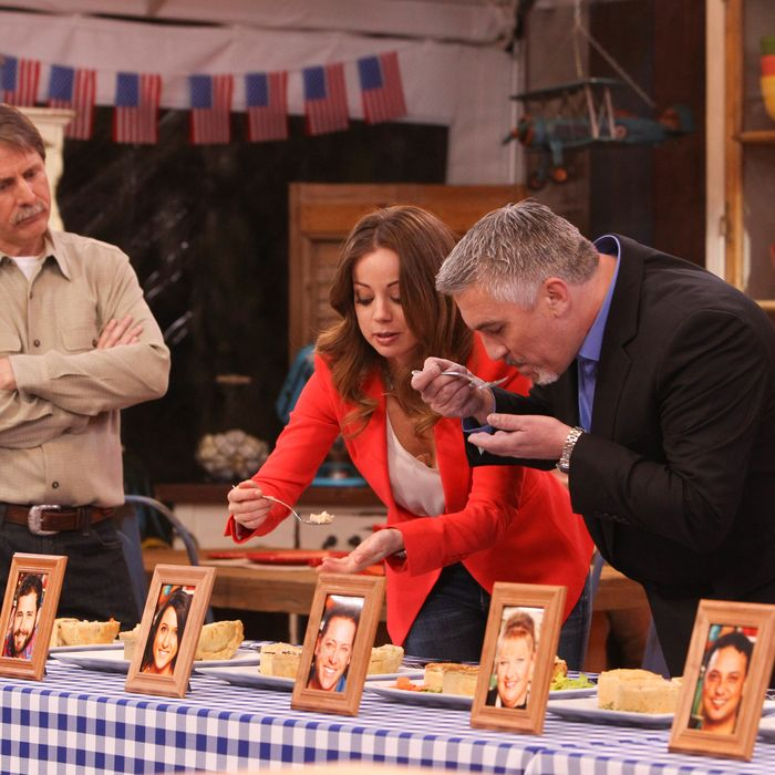 Host Jeff Foxworthy, with judges Marcela Valladolid and Paul Hollywood.