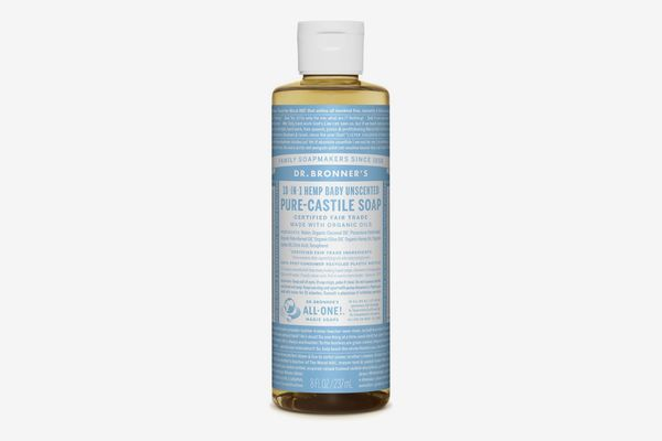 Dr. Bronner's 18-in-1 Hemp Unscented Baby-Mild Pure-Castile Soap, 8 Ounces